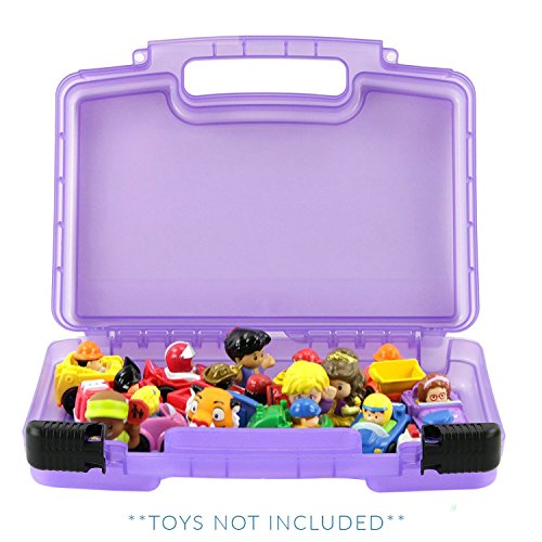 Life Made Better Little People Toy Storage Carrying Box, Mini Figure Organizer, Stores Figurines and Accessories, Purple