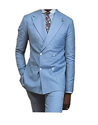 Light Blue Notch Lapel Wedding Suits Double Breasted Groom Tuxedos ...