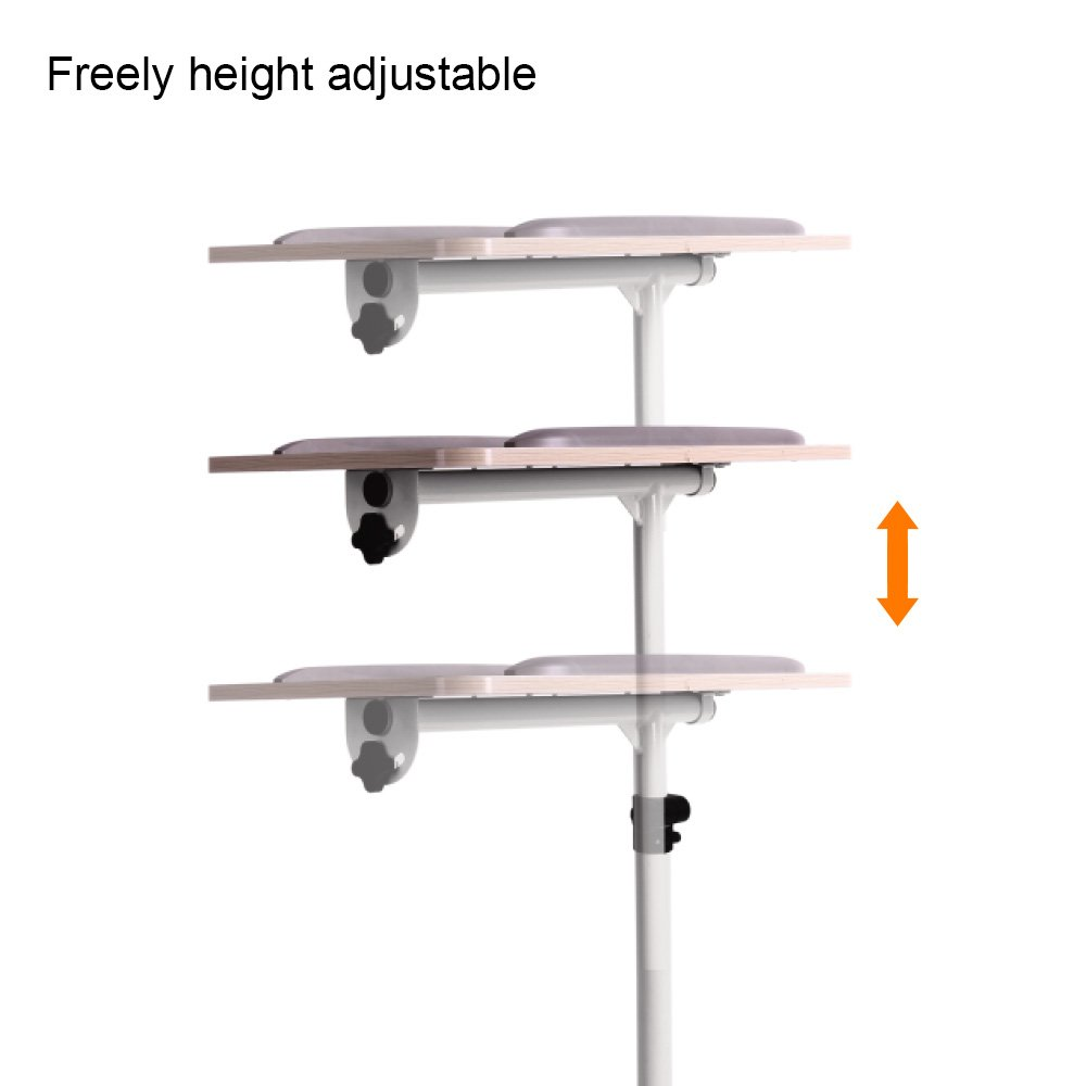 ProHT Universal Mobile Projector Laptop Stand Trolley (05485A),Sit-Stand Laptop Desk Cart,Adjustable Projector Stand/Rolling Computer Stand/Presentation Cart Rotated 360° and Tilted up to 35° .White by ProHT (Image #3)