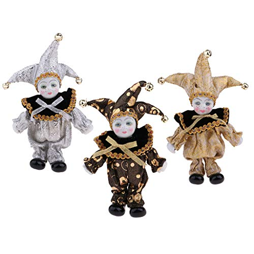 (SM SunniMix 3 Set 16cm Romantic Porcelain Doll Italian Triangel Model Clown Doll Valentines Home Decor Desk Ornaments)
