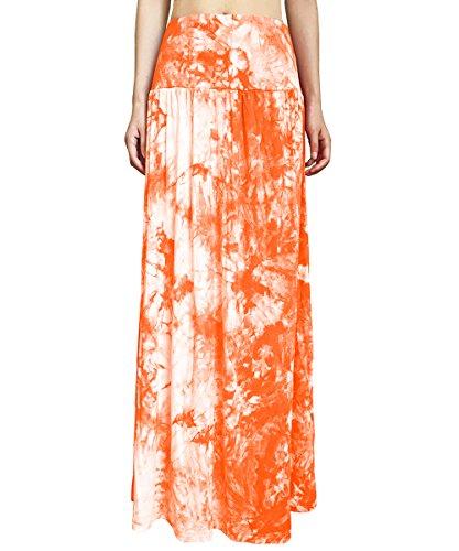 Yige Women'sTieDyeFoldOverMaxiSkirt-HighWaistLongSkirt Orange-M - Waist Skirt Fold Over