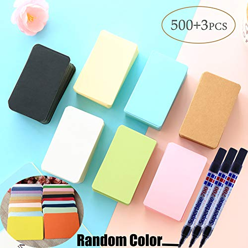 500pcs Business Cards, Word Card, Message Card, DIY Gift Card +3 pen,Blank Kraft paper by Sportsvoutdoors [500pcs Card+3pcs Pen] by Sportsvoutdoors