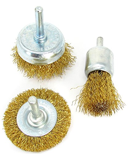 3pc Brass-Coated Wire Brush Set For Drill - (Brass Coated Brush)