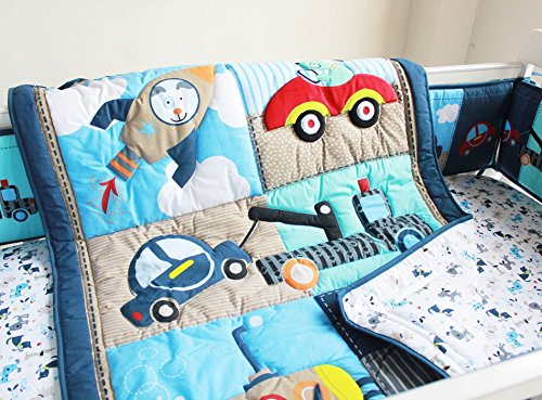 NAUGHTYBOSS Boy Baby Bedding Set Cotton 3D Embroidery Submarine Car Dog Rockets Quilt Bumper Mattress Cover 7 Pieces Set Blue Patchwork by NAUGHTYBOSS (Image #2)