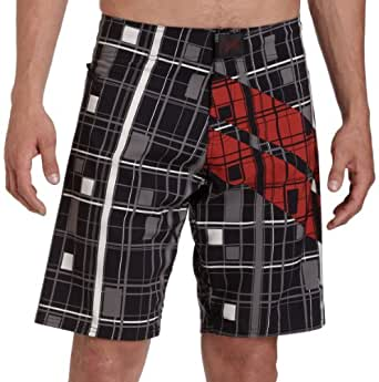 TapouT Men's Super Stripe Board Shorts,Black,42