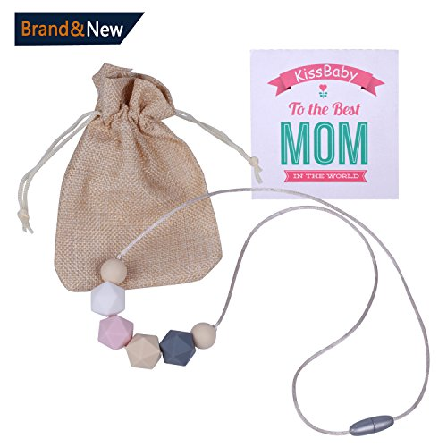 Silicone Teething Necklace for Mom, KissBaby Silicone Teething Beads, 100% BPA-Free Beads to Chew