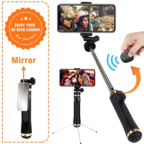 Selfie Stick Tripod, EEPIRR Mirror Selfie Stick with Built-in Bluetooth Remote for iPhone X/iPhone 8/8 Plus/iPhone 7/7 Plus/iPhone 6 Plus, Galaxy S9/S9 Plus/S8/S8 Plus/S7/Note 8, Huawei, More