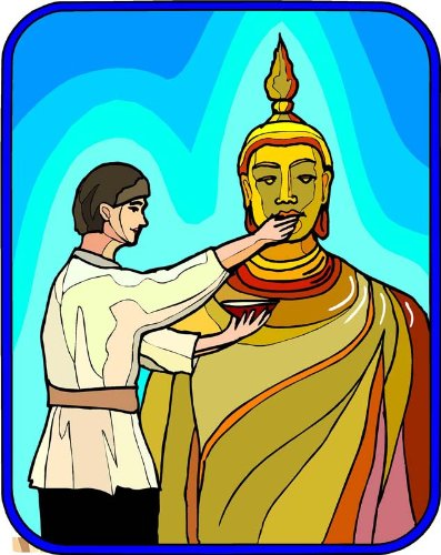 Monk feeding Gautama Siddhartha Buddha – エッチングビニールStained Glass Film , Static Cling Window Decal 21 in x 33 in B005SB50I8  21 in x 33 in