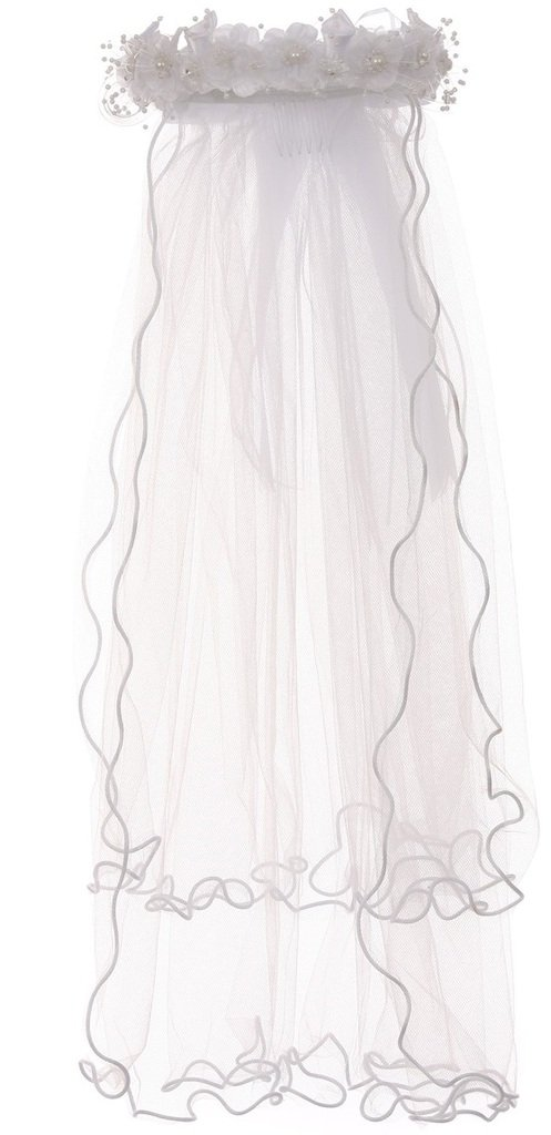 Pearl Accented Flower Crown Headband Tiara Mesh Wedding Communion Veil White T-102