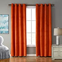 LOHASCASA Blackout Curtain Liner Noise Reduction Room Darkening Thermal Insulated Black Out Curtain 1 Panels Window Drapes and Curtains for Living Room or Bedroom(52 By 95 Inch Orange)
