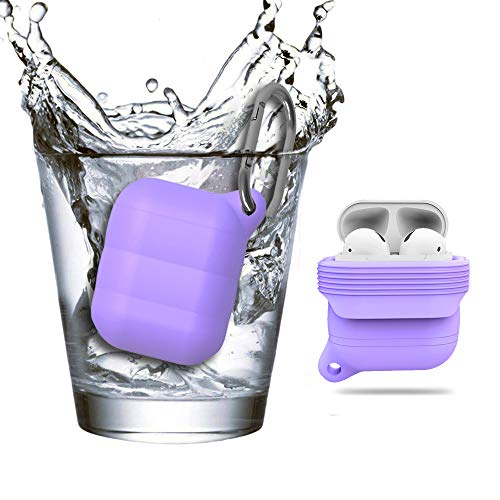 (UHKZ Compatible Apple Airpods Case Cover,Silicone All-Around Protective Waterproof Shockproof Airpods Accessories for Apple Airpods Charging Case,Purple)