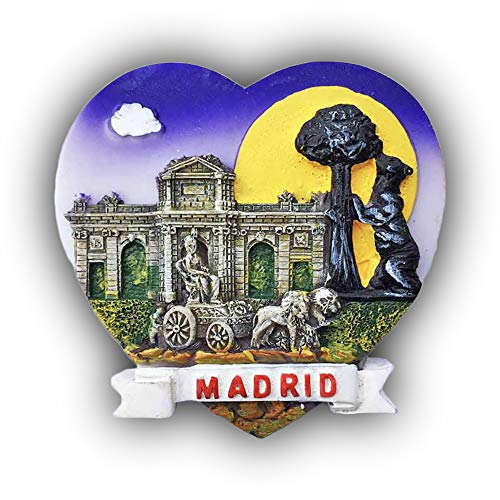 Madrid Spain 3D Heart-Shaped Refrigerator Magnet Tourist Souvenirs Resin Magnetic Stickers Fridge Magnet Home & Kitchen Decoration from China