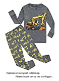 Family Feeling Excavator Little Boys Long Sleeve Pajamas Sets 100% Cotton Pyjamas Toddler Kids Pjs Size 4T Grey