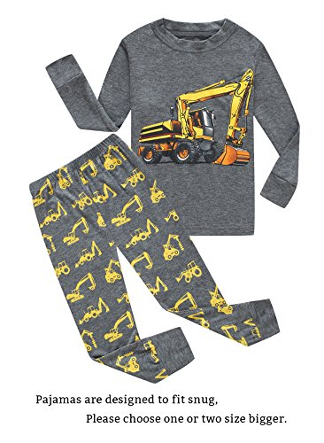 Toddler Boys Cotton Pajamas - Family Feeling Excavator Little Boys Long Sleeve Pajamas Sets 100% Cotton Pyjamas Toddler Kids Pjs Size 2T Grey