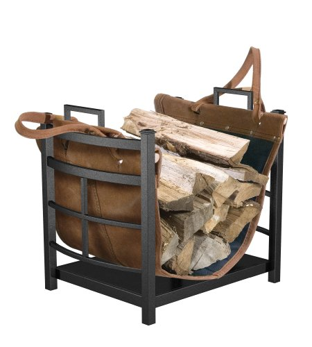 Panacea Products 15245 Mission Log Bin with Leather Carrier for Fireplace