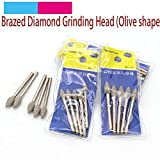 Maslin 5pcs 3mm Shank Olive Shape Brazed Diamond Grinding Head Burrs Carving Peeling Bits T For Jade Stone Glass Metal Ceramic Mill - (Grit: 3x4mm)