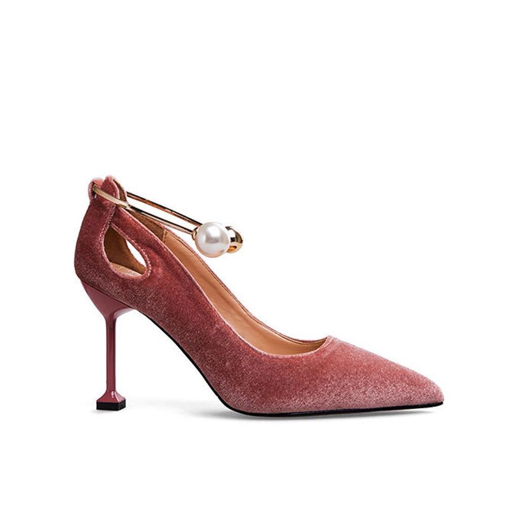 Frauen schuhe high heels wildleder casual geschlossene zehen pumps party hochzeit bühne metall perle nachtclub arbeit sandalen