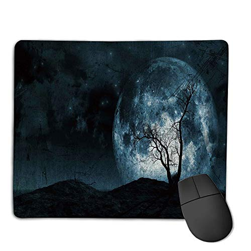 Mouse Pad Custom,Mouse Pad Non-Slip Thick Rubber Large MousepadFantasy,Night Moon Sky with Tree Silhouette Gothic Halloween Colors Scary Artsy Background,Slate Blue,Suitable for Any Mouse Type, Home