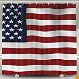 BINGO FLAG Funny Fabric Shower Curtain Blue And Red USA Flag Waterproof Bathroom Decor With Hooks 60 X 72 Inch