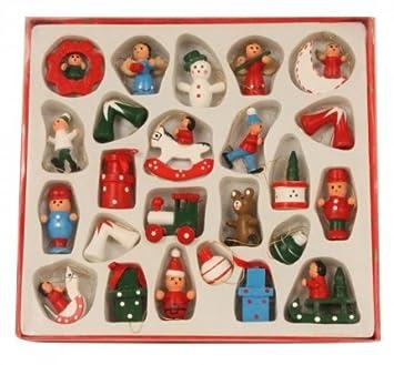 Bilder Weihnachten Nostalgisch.Baumschmuck Holzanhänger Hänger Holz Weihnachten 24 Tlg Nostalgisch