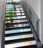 Stair Stickers Wall Stickers,13 PCS Self-adhesive,Spa,Collage of Spa Composition with Tropical Sandy Beach Ocean Rock Views Relax Rest Image,Multicolor,Stair Riser Decal for Living Room, Hall, Kids Ro