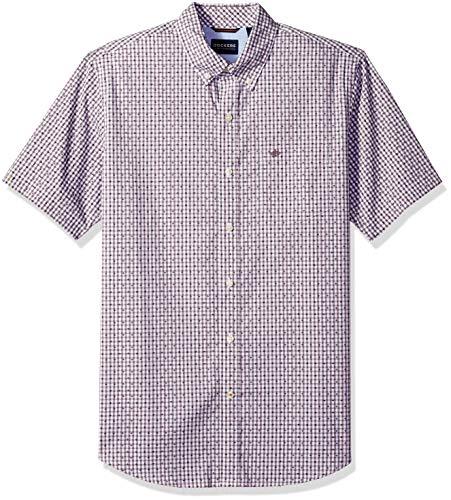 Dockers Men's Short Sleeve Button Down Comfort Flex Shirt, Lucite Black Plum, Medium