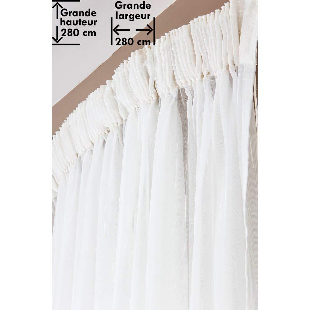 RideauDiscount Voilage 280 x 280 cm /à Galon Fronceur Grande Hauteur Grande Largeur Effet Brod/é Uni Blanc