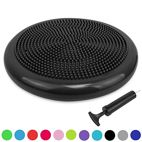 Sporthomer Extra Thick Core Balance Disc, Inflated Stability Wobble Cushion with Pump, KIDS Wiggle Seat, Sensory Cushion for Yoga, Exercise, Elementary School Chair (Office & Home & Classroom) - Black (Best Core Exercises For Golf)