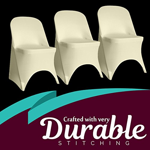 SPRINGROSE 100 Ecoluxe Ivory Spandex Stretch Folding Chair Covers | Sleek, Resilient Polyester & Elastic Spandex | for Wedding, Bridal Showers, Anniversary Party, Receptions, Celebrations, More by SPRINGROSE (Image #3)