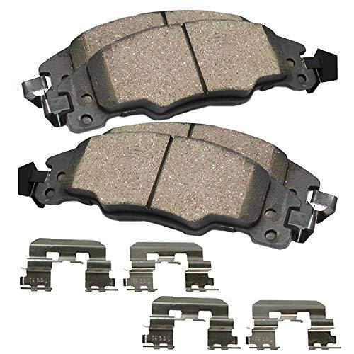 Detroit Axle - Front Ceramic Brake Pads w/Hardware Kit for Chevrolet Chevy GMC Cadillac Dodge Ram 1500 Suburban C1500 K1500 C2500 K2500 Yukon Deville Astro ()