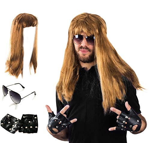 Tigerdoe Rocker Costume - 80s Costumes for Men - Heavy Metal Wig - (3 Pc Set)