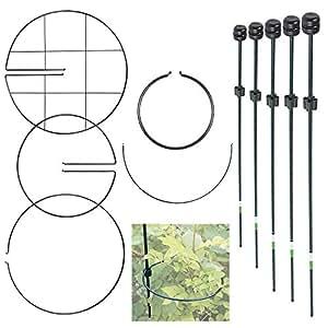 10 x Metal Botanico expandibles para plantas y flor jardín compatible con barra de cortina - verde