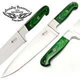 Green Wood Profession 13'' Custom Hand made Chef Knife Stainless Steel Green Wood Handle With Mosic Pin Multi Use for slicing dicing chopping with 100% Prime Quality