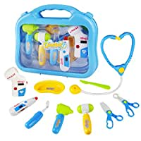 Yoptote Doctor Kit Pretend Play Girls Toys Medical Case Role Play Sets with 10 PCS for Kids Boys Girls 3 Years Old and Up,Blue