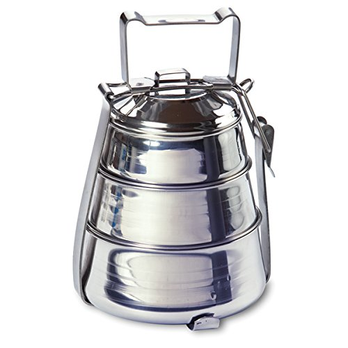 Rome Industries Inc 2664 Stainless Steel 3-Tier Belly Tiffin Food Carrier, 5.5 by 8.5-Inch