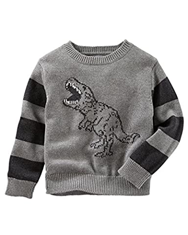 OshKosh Boy's Dinosaur Themed Ski Lodge Sweater; Grey with Striped Sleeves (24M) (Themed Sweaters)