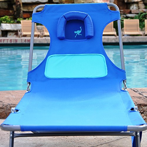 Ostrich Ladies Comfort Chaise Lounger - Blue with Custom Fit Towel - Ostrich Folding Chaise