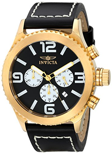 Men's 1428 II Collection Chronograph Black Dial Leather