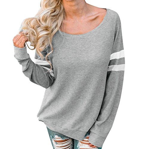 DEATU Fashion Simple Womens Ladies Splice Blouse Sexy Tops Clothes Long Sleeve T-Shirt (Gray,Size XXXXL)