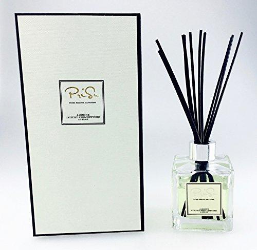 Huile essentielle de jasmin Reed diffuseur coffret - bâtonnets de rotin de Reed, verre bouteille et parfum parfumé naturel longue durée (4,2 oz liq) d'huile pour aromathérapie, assainisseurs d'Air et le bien-être