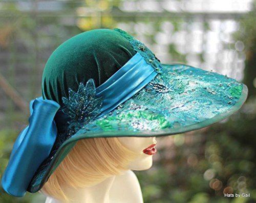 (Womens Edwardian Victorian Wide Brim Velvet Hat With Sequins and Beads )