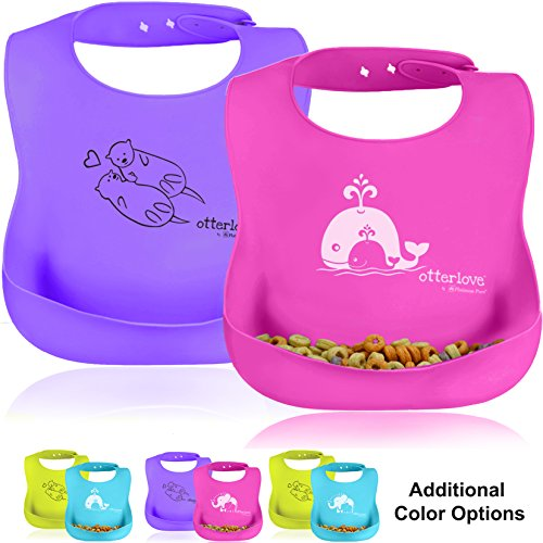 Platinum Silicone Bib - Waterproof Baby Bibs with Wide Food Catching Pocket – Easy to Clean – Toddler Proof – Mess Proof – Dishwasher Safe – BPA Free (2 Bib Pack - Pink Whales & Purple Otters)