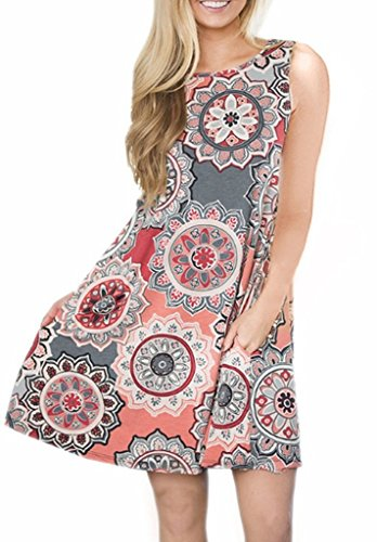 Tanst Casual Dresses for Women Summer Loose Fit Tank Dress Pockets Swing Flowy Scoop Neckline Stretch Lightweight Floral Print Sundresses Tunic Top with Leggings Grey ()