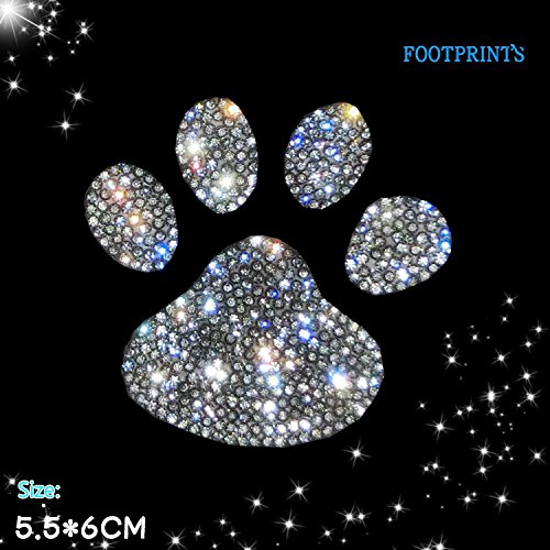 Decal Car Badge (Boobo Ice Out Silver Bling Ring Emblem Dog Pet Animal Paw Foot Print Car Cool Sticker Badge Decal Universal)