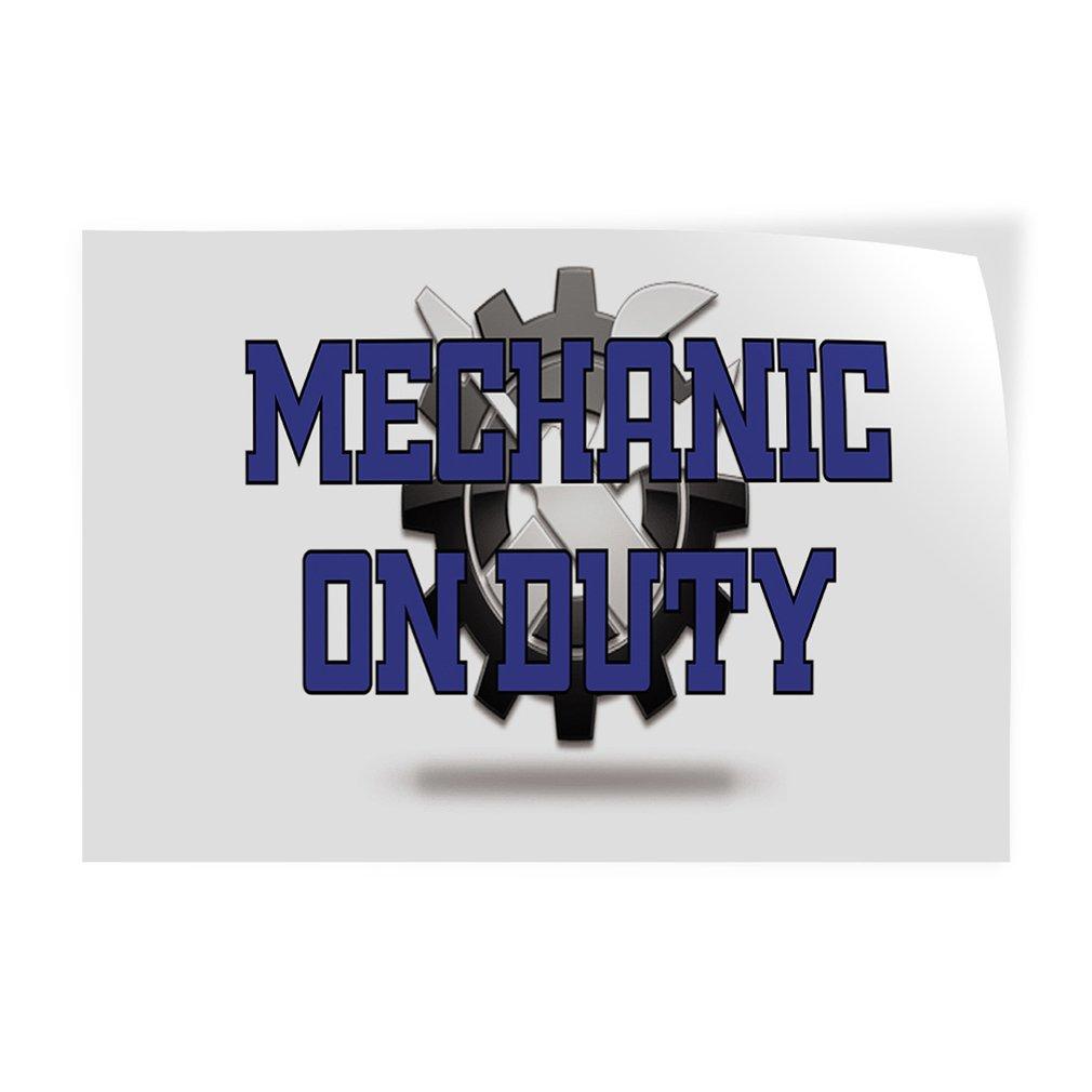 Mechanic On Duty #2 Indoor Store Sign Vinyl Decal Sticker - 14.5inx36in,