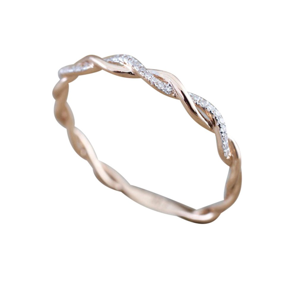Nihewoo Sterling Silver Infinity Knot Ring CZ Anniversary Wedding Band Rings Cubic Zirconia Eternity Ring (Rose Gold 9)