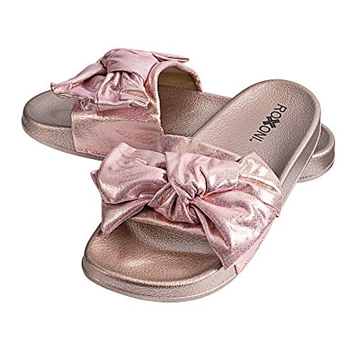 - Roxoni Womens Bow Tie Sandal Open Toe Summer Slide Slipper -Great for Indoor/Outdoor