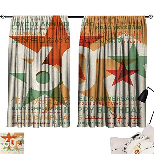 Waterproof Window Curtain 60th Birthday,World Cities Birthday Party Theme with Abstract Stars Print,Green Vermilion and White 72