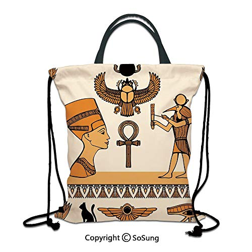 (Egyptian 3D Print Drawstring Bag String Backpack,Historical Ancient Symbols Set with Nefertiti Profile Antique Artwork,for Travel Gym School Beach Shopping,Ivory Marigold Black)
