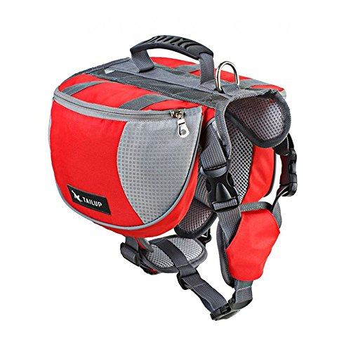 Pet Dog Pack Bag Adjustable Vest Harness Hound Hiking Gear,Backpack Saddlebag Outdoor Camping Travel Accessories - Red L by ABSK